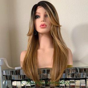 Wig golden brown ombré dark roots 20 Inch Long